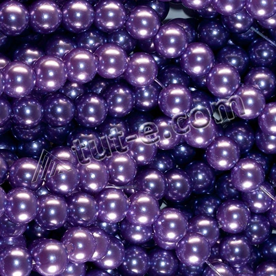 Жемчуг искусственный на нитке фиолетовый 500 грамм