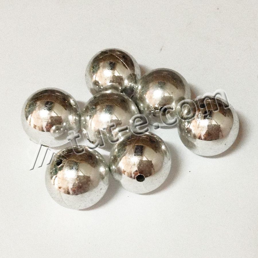 Бусины керамические 2.5см серебро