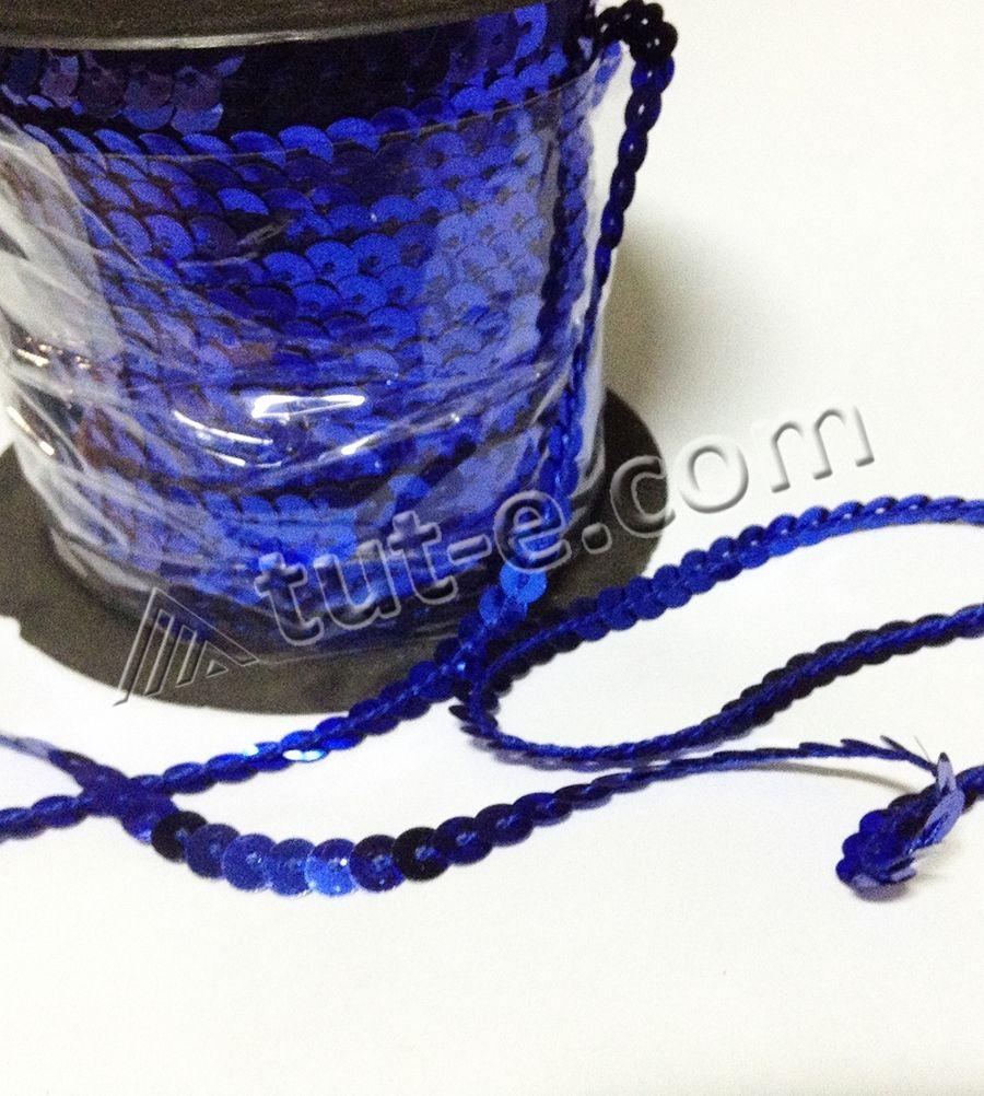 Лента из пайеток синяя