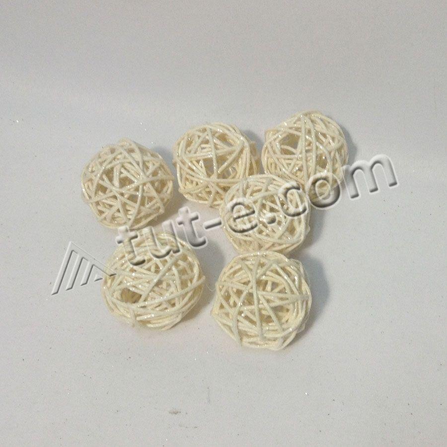 Шар из ротанга белый 5см-упаковка 10шт