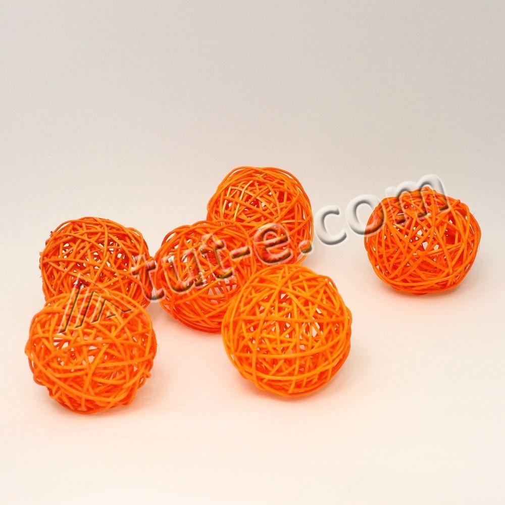 Шары из ротанга оранжевые 7см-упаковка 6шт