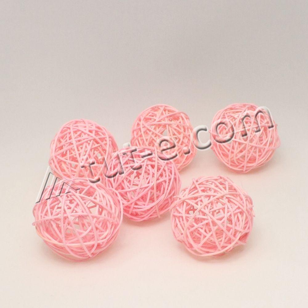 Шары из ротанга розовые 7см -упаковка 6шт