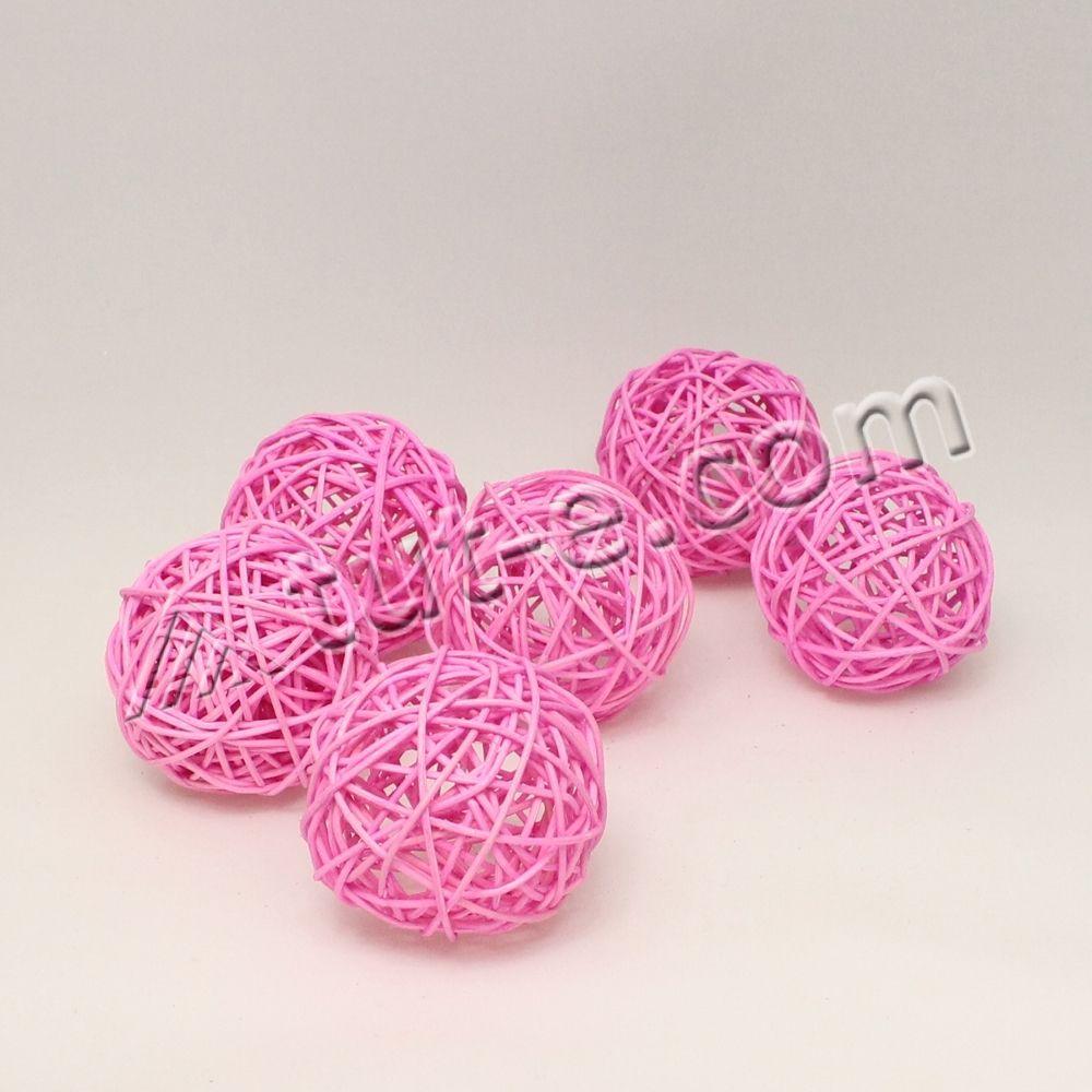 Шары из ротанга ярко-розовые 7см -упаковка 6шт