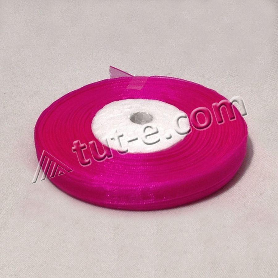 Лента органза 0,6см ярко розовая