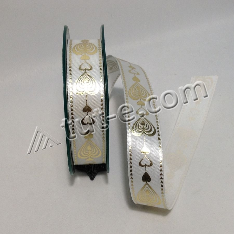 Лента атласная белая с золотым принтом 2,4см- 10м
