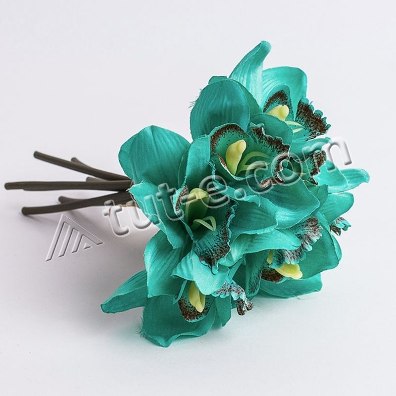 Букетик орхидей вязка цвет морская волна