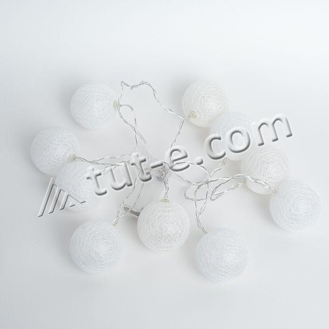 Фонарики на батарейках-10шт- 140см белые