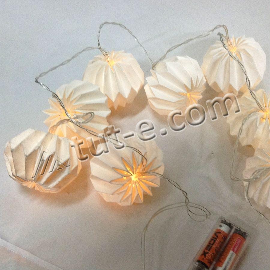Гирлянда с лампочками 1.2м на батарейках