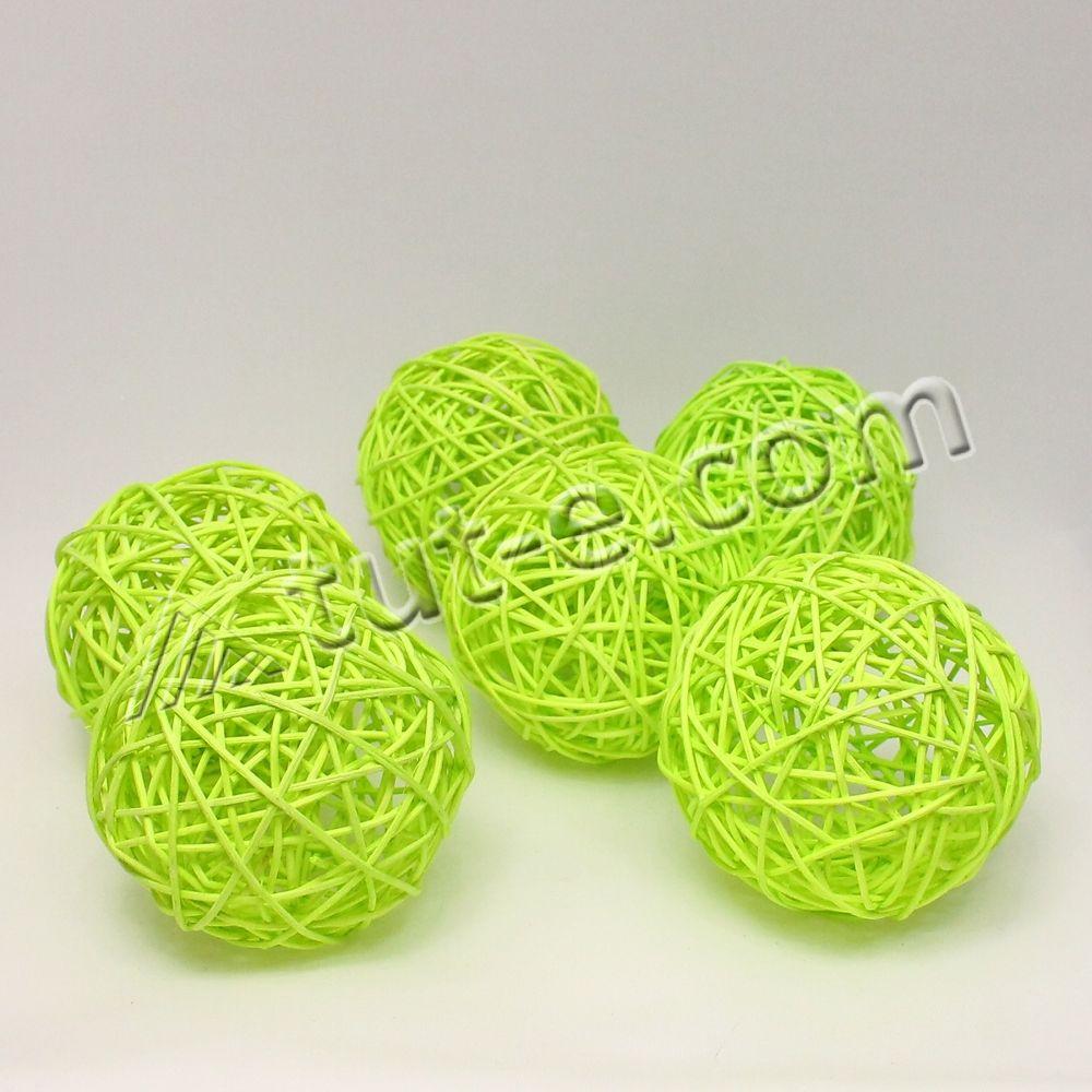 Шары из ротанга зеленые 10см упаковка 6шт