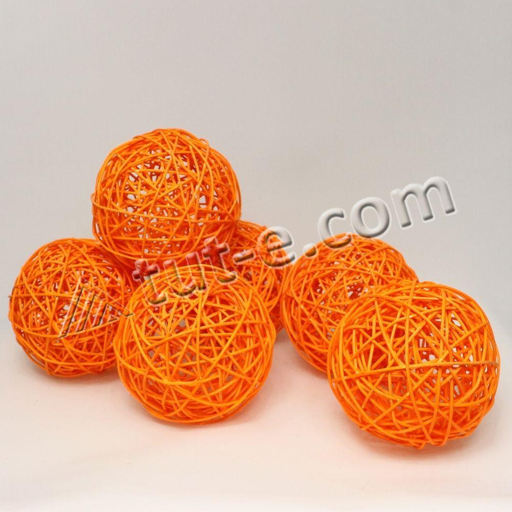 Шары из ротанга оранжевые 12см упаковка 6шт