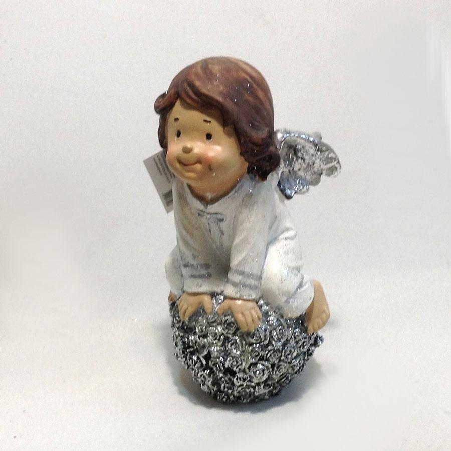 Фигурка ангела на цветочном шаре 25см