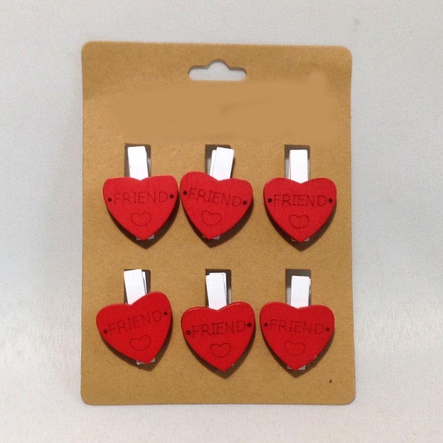 Декор Сердце красное 3.5см -6шт