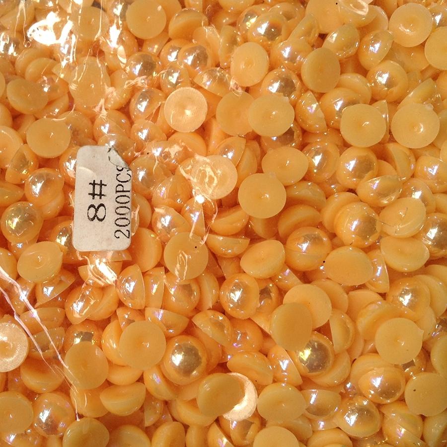 Полужемчуг 8мм (бензиновый блеск) оранжевый -2000шт