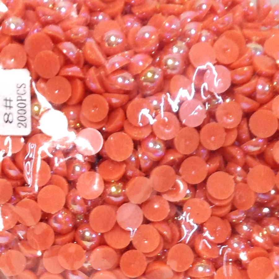 Полужемчуг 8мм (бензиновый блеск) ярко-оранжевый
