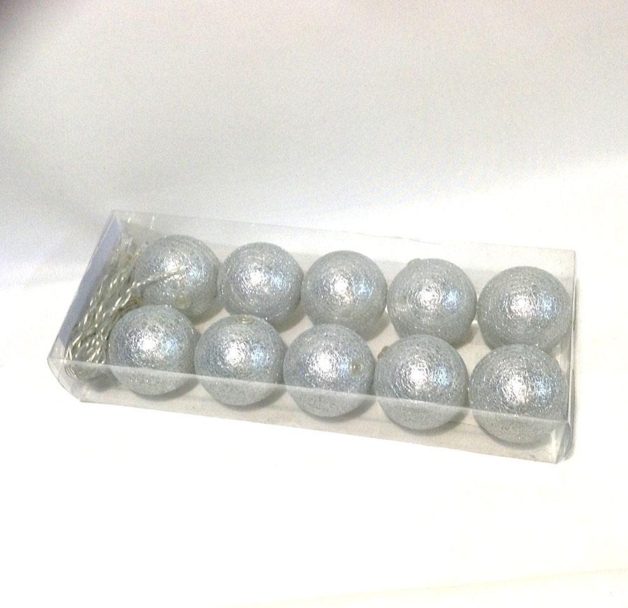Фонарики на батарейках перламутровые-10шт- 140см серебро