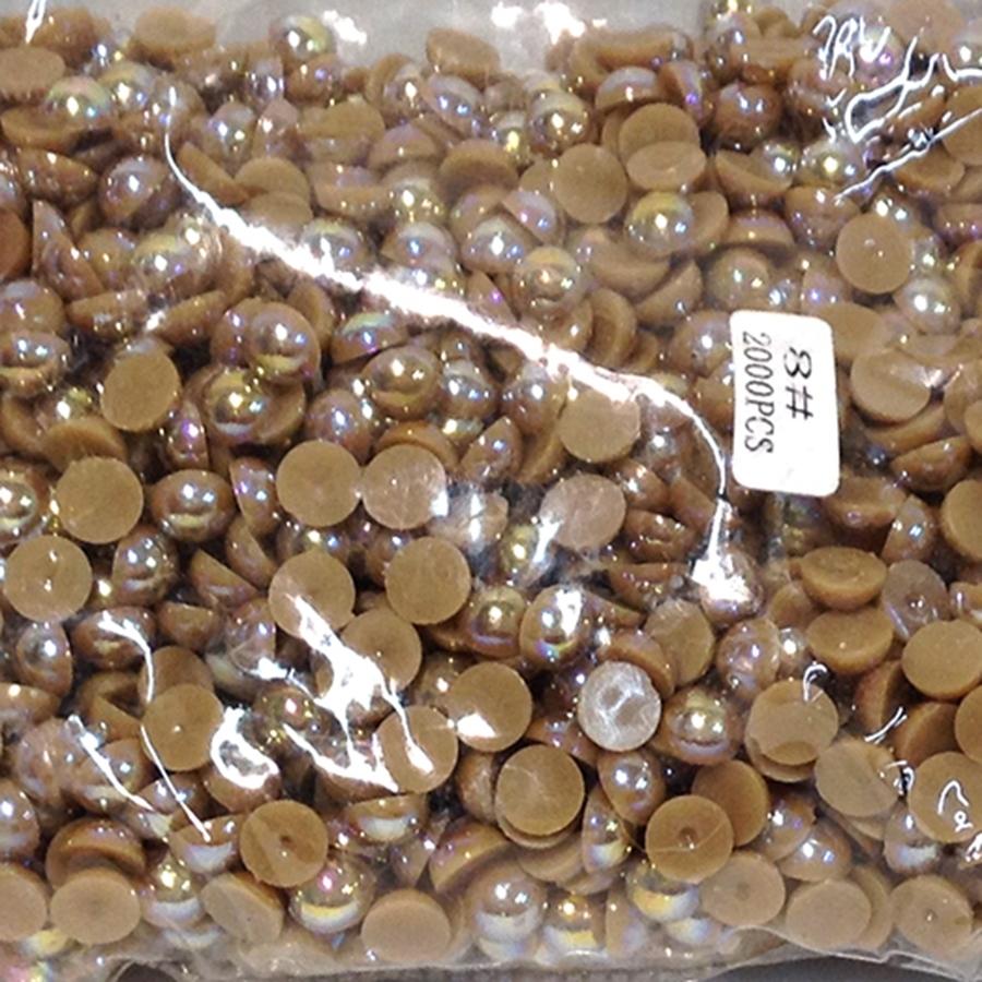Полужемчуг 8мм (бензиновый блеск) коричневые -2000шт