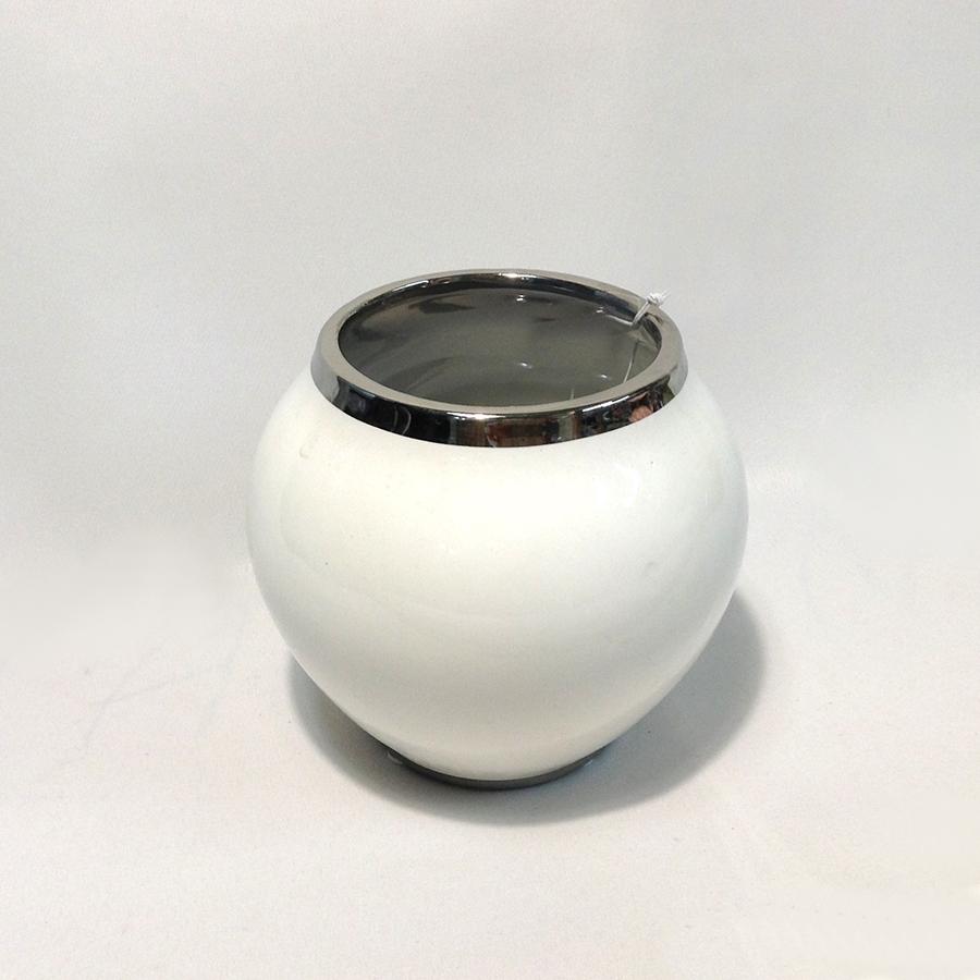 Ваза керамическая белая с хромированным краем 15х10см