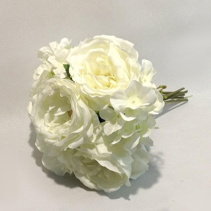 Букет английской розы с гортензией ванильный