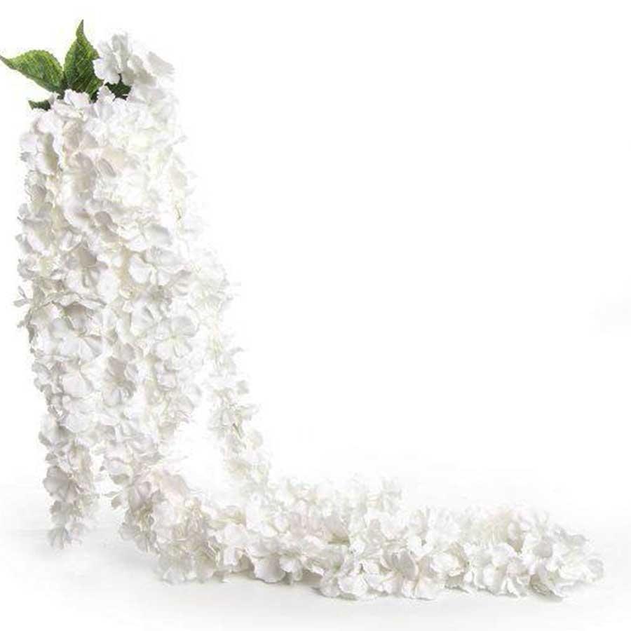 Ветка вьющейся гортензии белая 130см