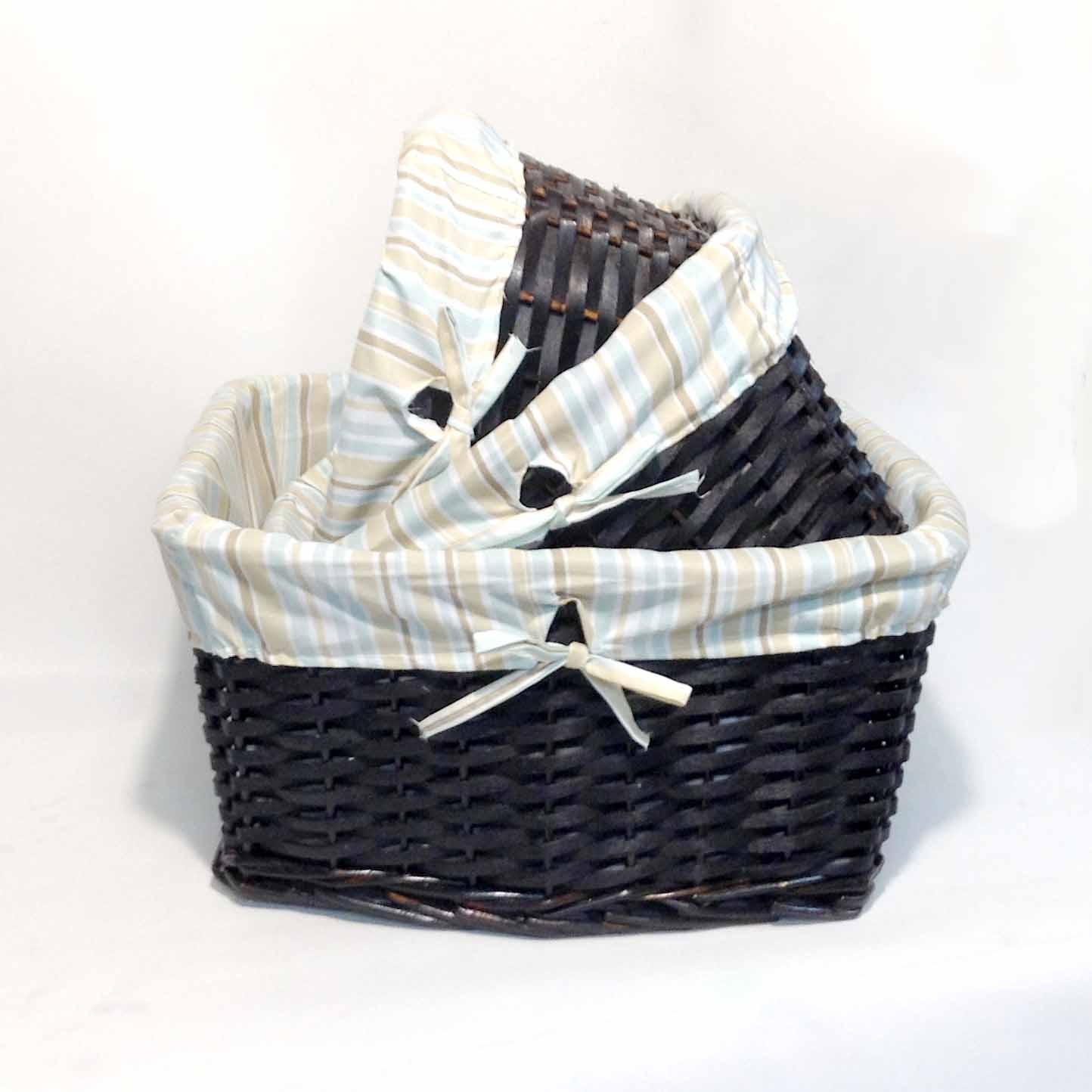 Набор корзин из лозы с тканью-3шт