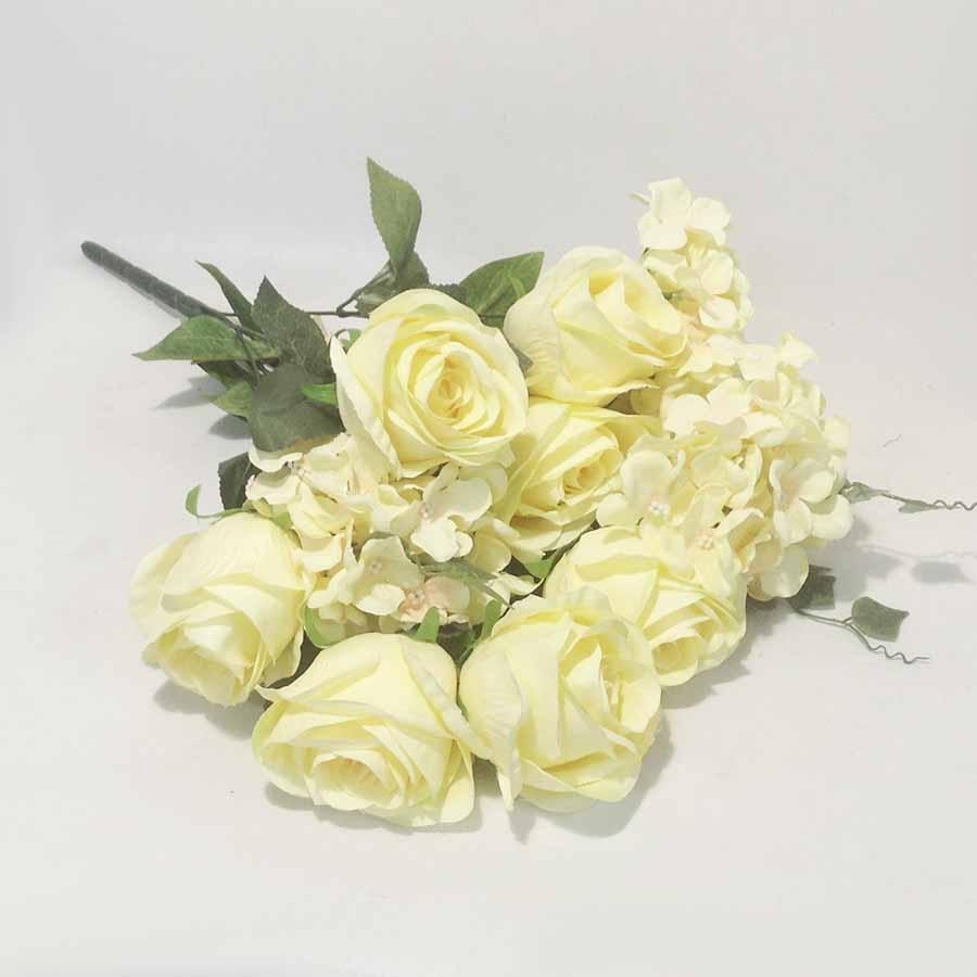 Букет роза + гортензия желто-ванильная