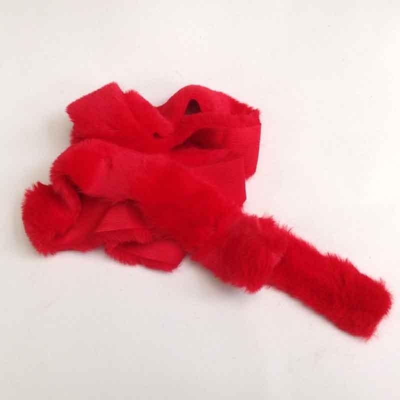 Лента меховая 5см -1,5м красная