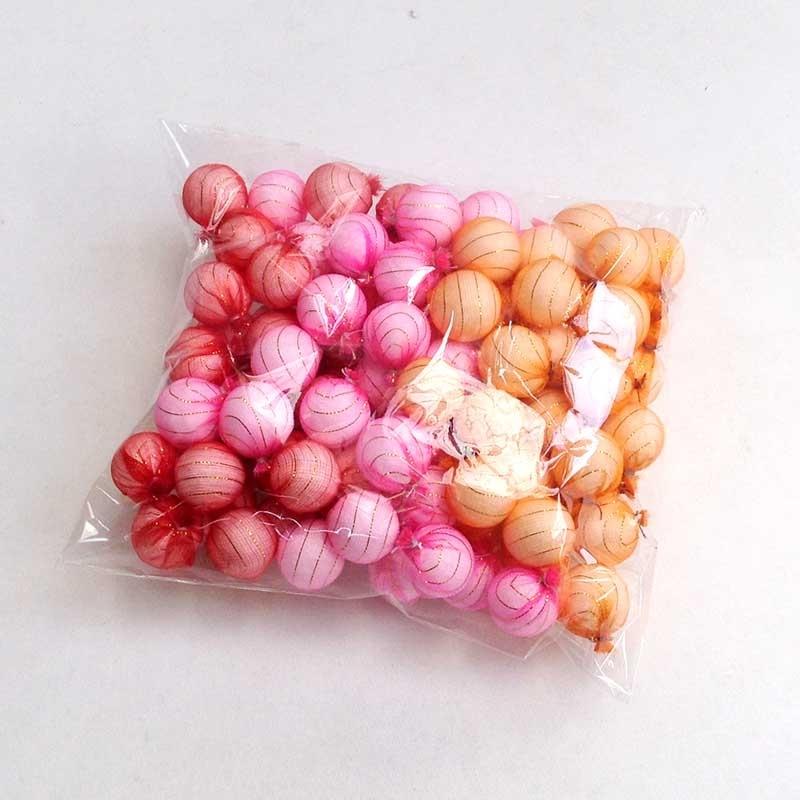 Шарики 1,5см в разноцветной органзе для рукоделия - упаковка 100шт