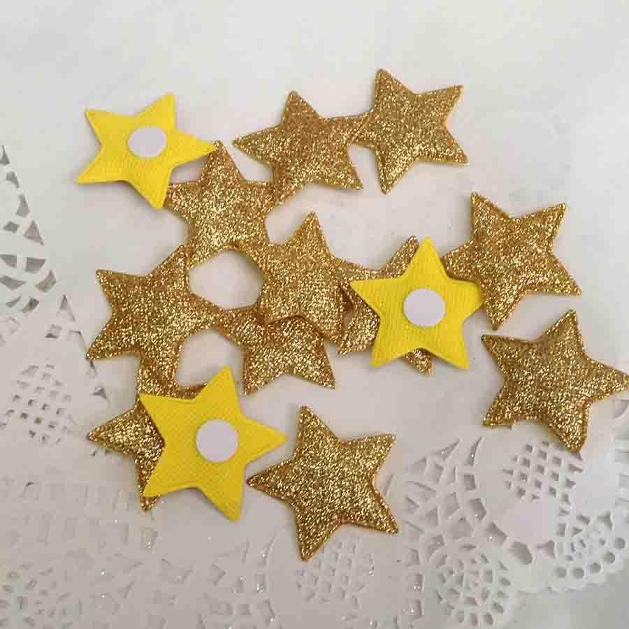 Набор объемных звезд из ткани с блеском золотые