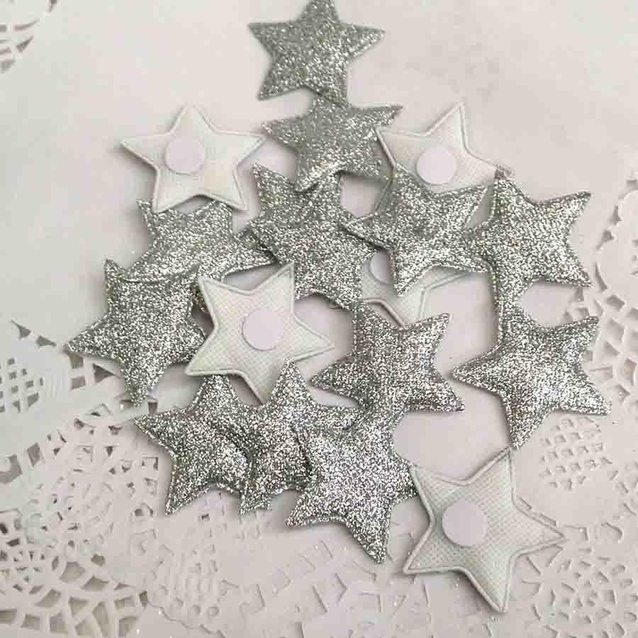 Набор объемных звезд из ткани с блеском серебрянные