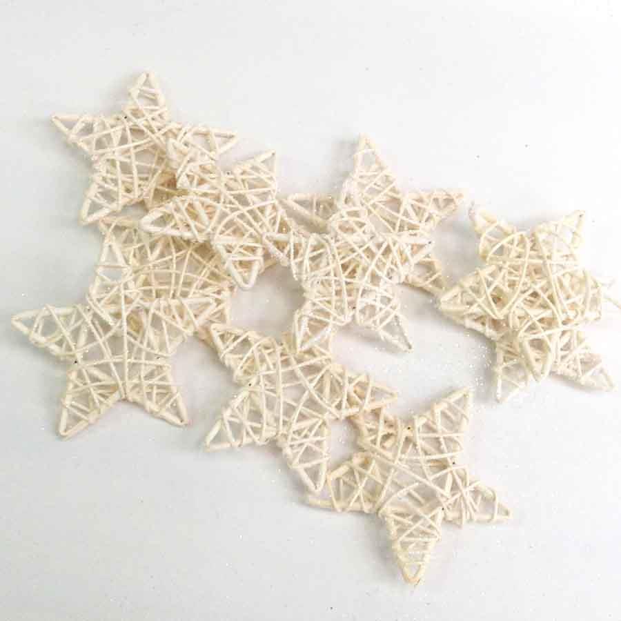 Набор звезд из лозы с блеском белые 10см