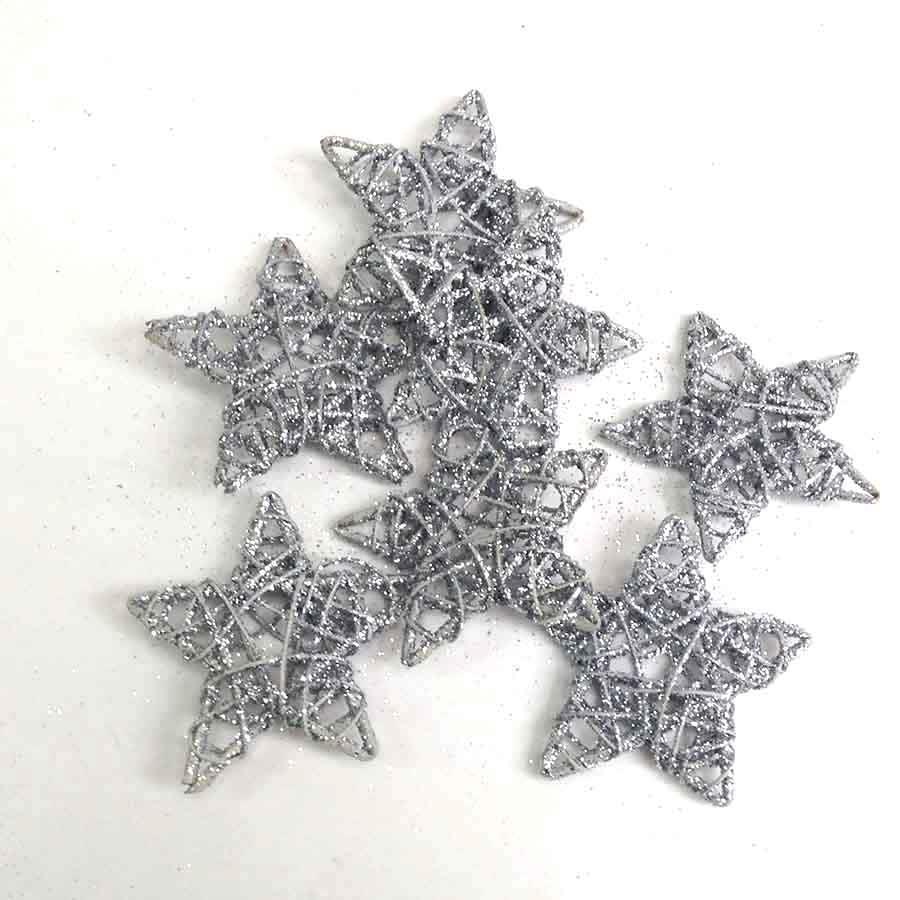 Набор звезд из лозы с блеском серебряные 10см