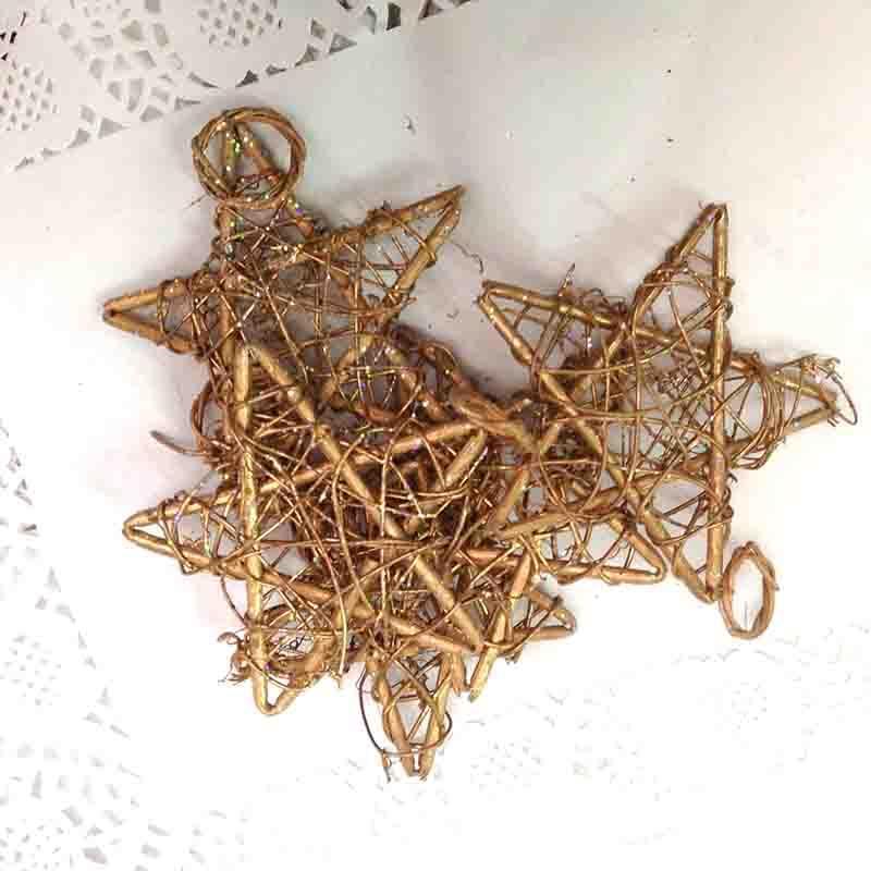 Звезда из лозы с колечком 12см - упаковка 10шт