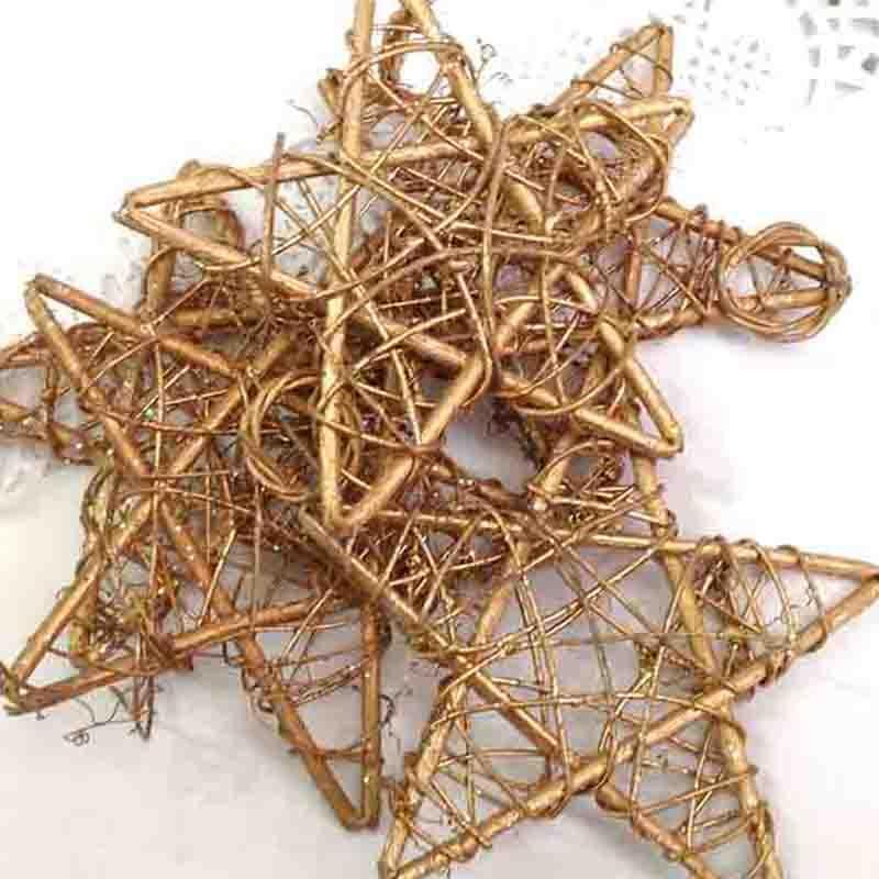 Звезда из лозы с колечком 25см - упаковка 10шт