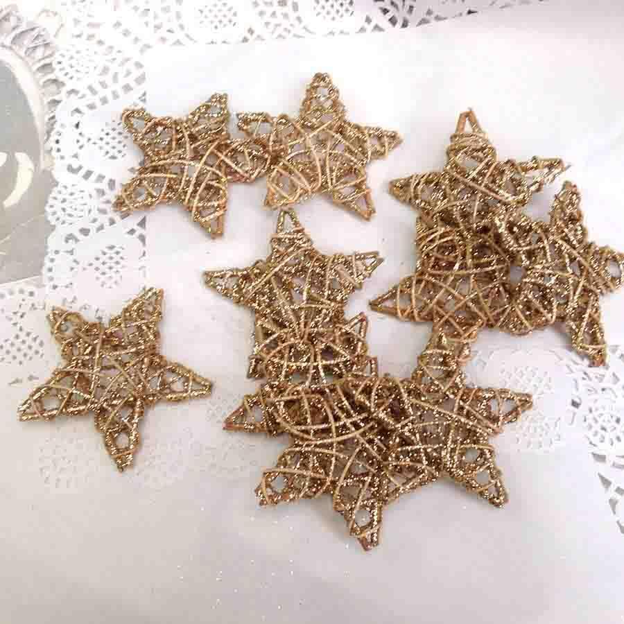 Набор звезд из лозы с блеском золотые 10см