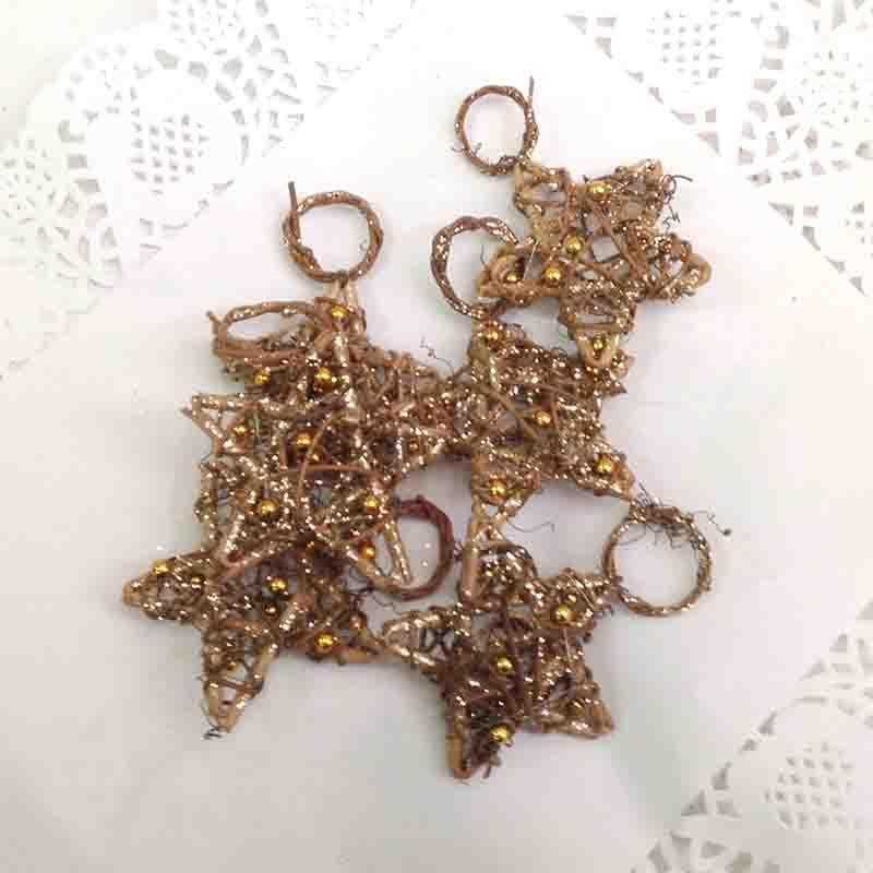 Звезда из лозы с бусинками 7см - упаковка 10шт