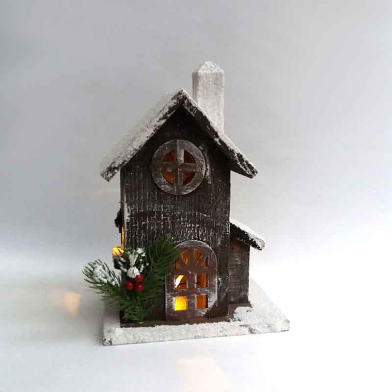 Домик  деревянный с подсветкой 30 х 20 х 12см