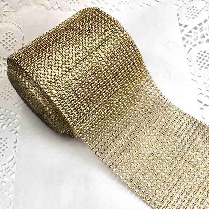 Лента декоративная имитация страз золото-12см-9,41м