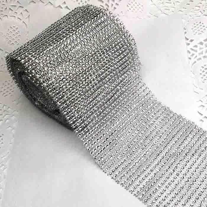 Лента декоративная имитация страз серебро-12см-9,41м