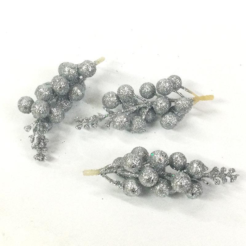Веточка с серебряными шариками 12см - 3шт